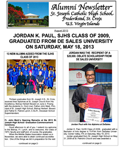 SJHS Alumni Newsletter August 2013 Cover